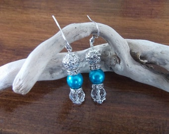 Turquoise earrings and rhinestones