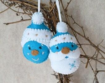Christmas Santa and Mrs Claus Felt Ornament Set - Turquoise, White, Gold Felt Santa, Christmas Tree Decoration, Holiday Decoration