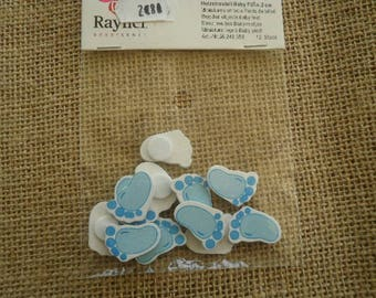 Bag of 12 wooden baby blue feet embellishments, size 2 cm