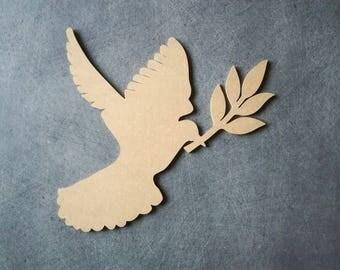 Peace dove medium support blank H 21 cm x 20 cm MDF wooden