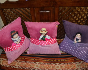 COVER PILLOWS FOR DOLL - CHILD'S ROOM. COTTON