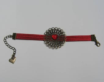 Bracelet suede print and Red resin cabochon