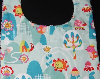 """Cotton bib and towel """"birds and flowers"""""""