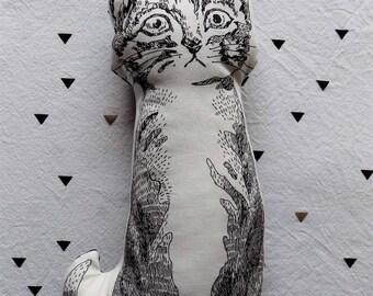 cushion shape black and white cat