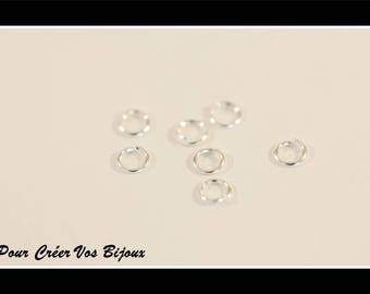 Set of 50 open 3 mm silver plated rings