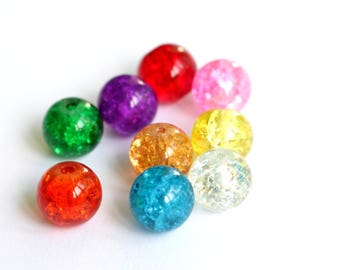 Set of 5 different color Crackle Glass 10mm round beads