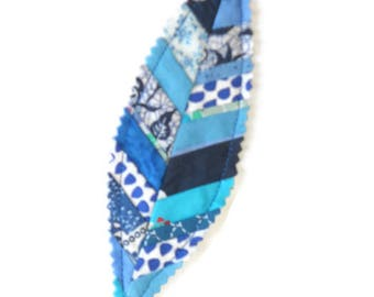 Fabric bookmark, blue feather, patchwork