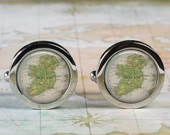 Ireland cuff links, Ireland map cufflinks wedding gift anniversary gift for groom gift for him groomsmen best man Father's Day gift