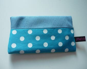 Blue with dots fabric Pouch for tissues