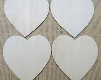 10 x hearts wooden - size 4cm