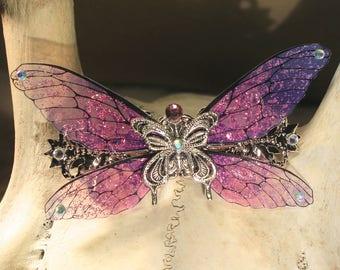 "Barrette/hair clip ""pink Butterfly Fairy"" fantasy, fairytale, fantasy."