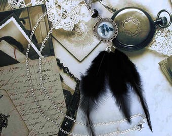 Long necklace in silver metal 'Crow', Retro, Gothic, Steampunk Halloween