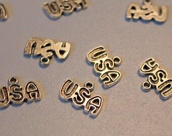 X 1 charm - USA United States America travel vacation - silver - jewelry customization
