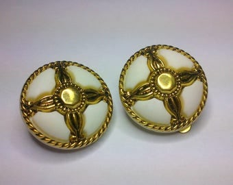 Pretty white and gold earrings