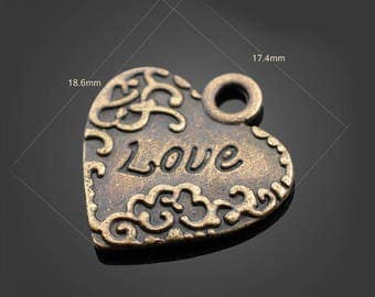 30pcs 19*17mm Bronze Heart Charms Alloy Pendants Setting Jewelry Metal Findings Handmade Supplies Wholesale YZ-13001