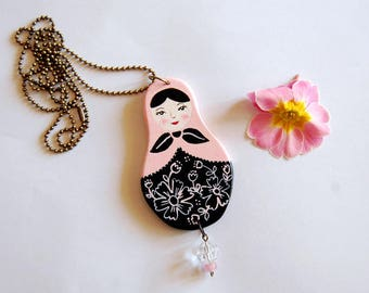 Necklace with hand painted matryoshka doll