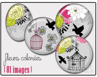 Bird cage Printable Images Digital Collage Sheet for Jewelry Making - Digital collage sheets