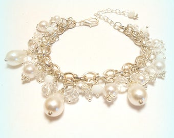 "Charm bracelet beads ""Crystal snow purity"""