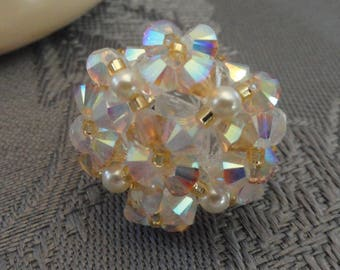 White and gold Swarovski Crystal beaded ring