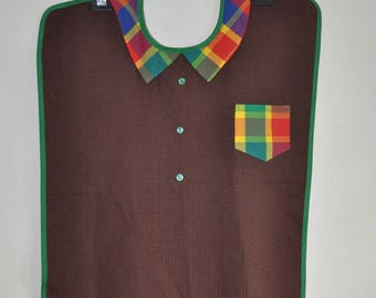 "Adult bib ""in the Islands"" - brown red madras shirt collar"