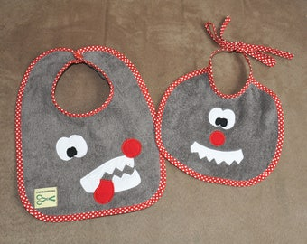 Set of two bibs baby gray, nice big bad wolf