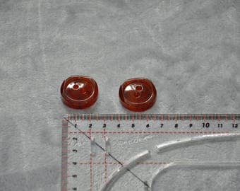 Set of 2 buttons resin 2-hole brown orange 27 mm - vintage - good condition