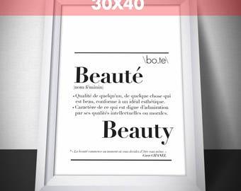 "Poster definition ""Beauty"" Format 30 x 40 cm"