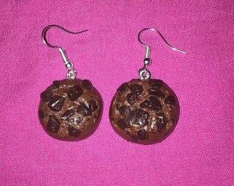 Earring in dough Fimo jewelry, gourmet cookie