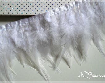 Rooster feathers - 11-15 cm - White Ribbon 20cm