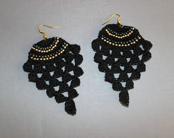 """Pineapple"" style hook earrings"