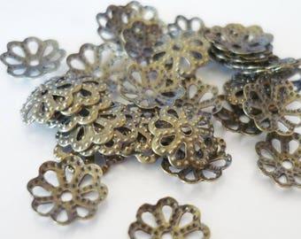 bronze 50 x 7mm bead caps - bronze - colored bead caps