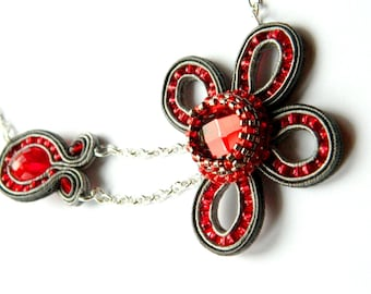 Beadwork and soutache, red and gray Flower necklace