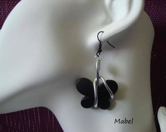 Black butterfly, silver, aluminum Wire Earrings wedding