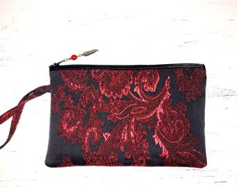 Great wallet or pouch baroque Burgundy, black and Red