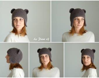Bonnet péruvien Ours brun pour adulte / Tuque crochet homme  femme  idee cadeau alpaga chapeau original unique oreilles ourson laine alpaga