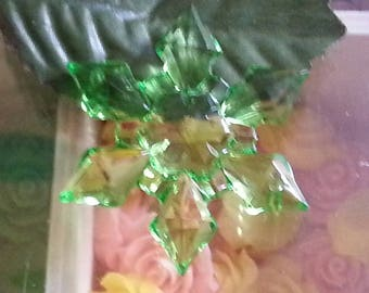 large acrylic transparent, faceted, snowflake, mixed color, 45 x 9 mm, hole: 2 mm