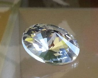 very large rhinestone cabochon, back Golden faceted Crystal 18 mm