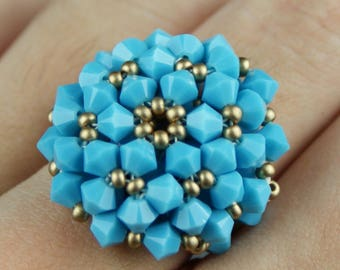 Blue and gold swarovski crystal ring