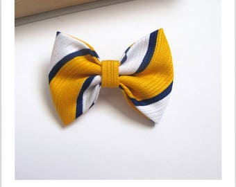 "hair bow ""clip - me"" striped blue white and yellow"