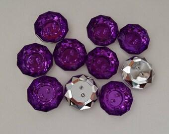 10 purple RHINESTONE fancy buttons dark 18 mm - 2 holes - creative sewing, SCRAPBOOKING