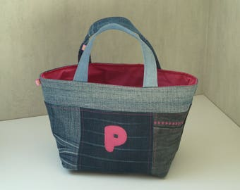 Hot pink denim patchwork blue P, lined with cotton fabric basket