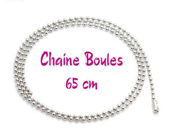 Ball chain 2.4 mm individually clear shiny 65 cm with clasp silver Metal