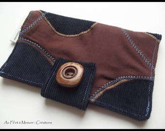 Navy Blue and cotton corduroy tobacco Brown