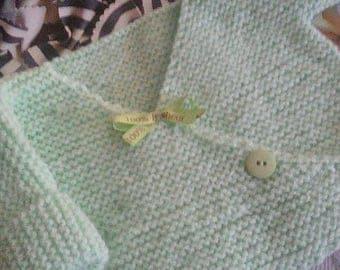 "lovely bra theme ""message""in green pastel wool Ribbon"