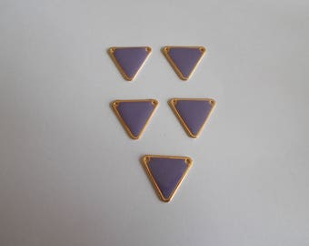 1 set of 5 beads purple enameled gold metal connectors