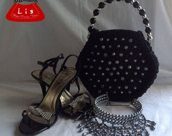 Black Night bag with crystals