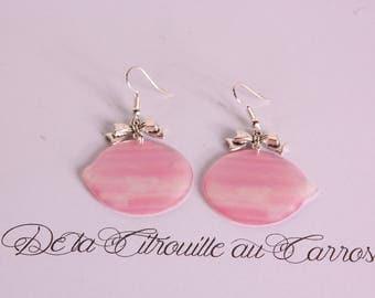 Pastel pink Moon, Silver Bow earrings