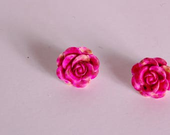 Raspberry 3D flower ear studs
