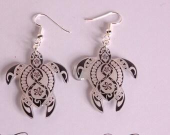 Turtle earrings tribal, black