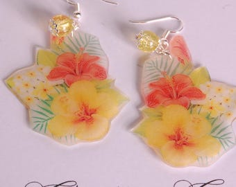 Exotic flowers earrings, red and yellow, yellow pearl
